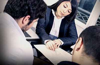 Business woman Presenting Letter Clients